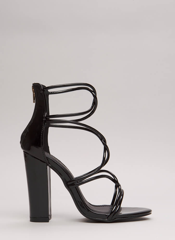 In The Loop Chunky Faux Patent Heels BLACK (Final Sale)