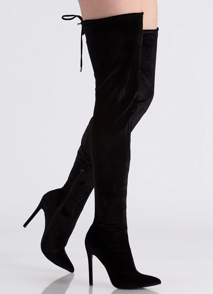 High Life Pointy Velvet Thigh-High Boots BLACK