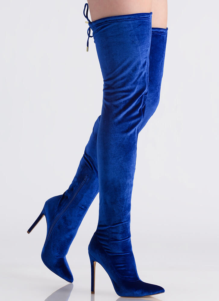 High Life Pointy Velvet Thigh-High Boots BLUE