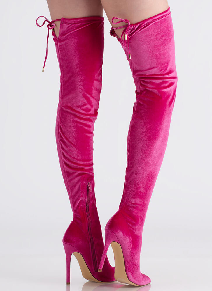 High Life Pointy Velvet Thigh-High Boots PINK