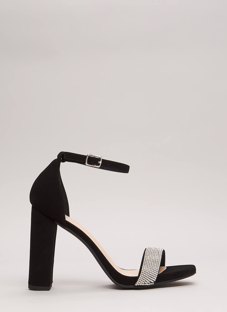 Say No More Jeweled Faux Nubuck Heels BLACK