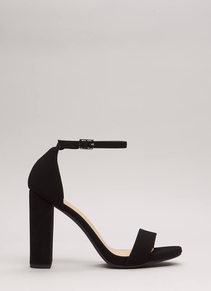 Find The One Chunky Faux Nubuck Heels BLACK