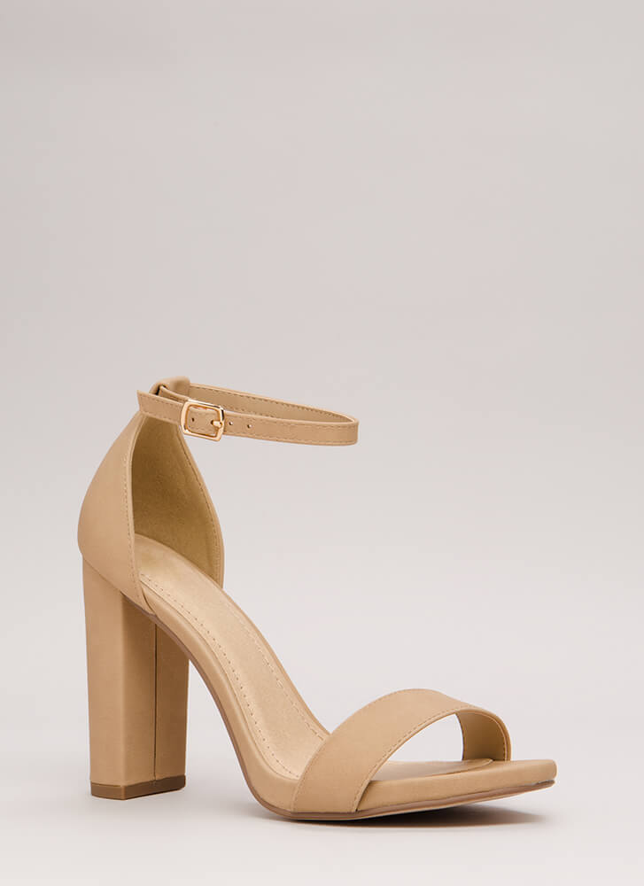 Find The One Chunky Faux Nubuck Heels NATURAL