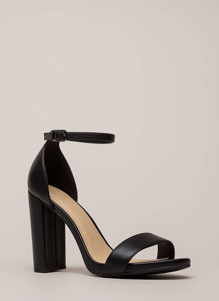 Find The One Chunky Faux Leather Heels BLACK