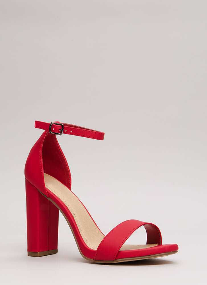 Find The One Chunky Faux Leather Heels RED