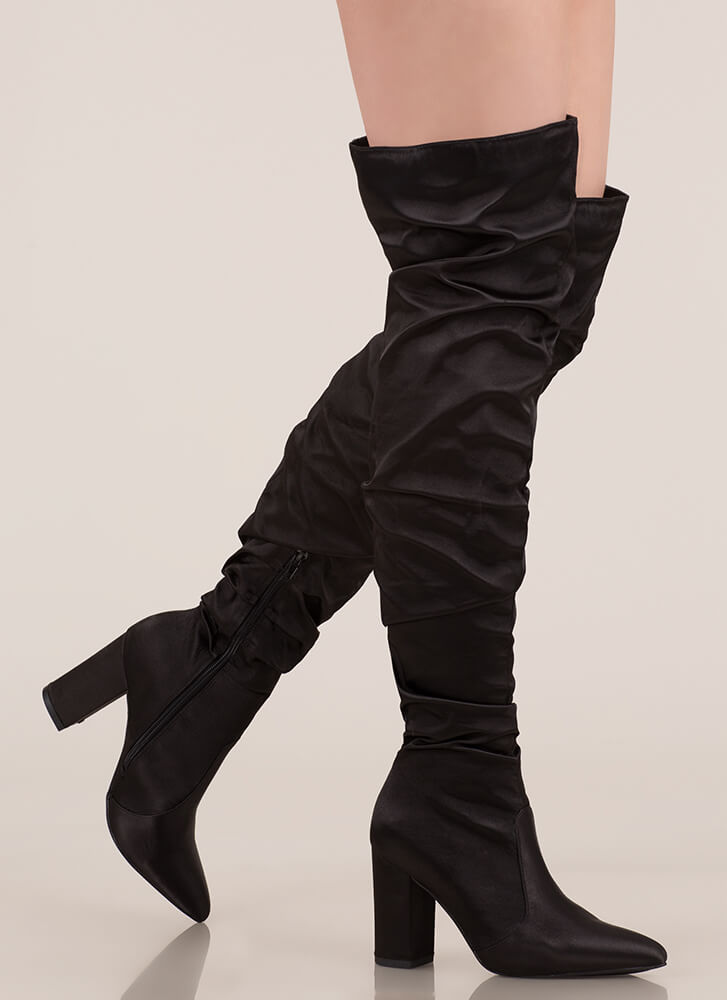 Pad Your Stats Slouchy Thigh-High Boots BLACK