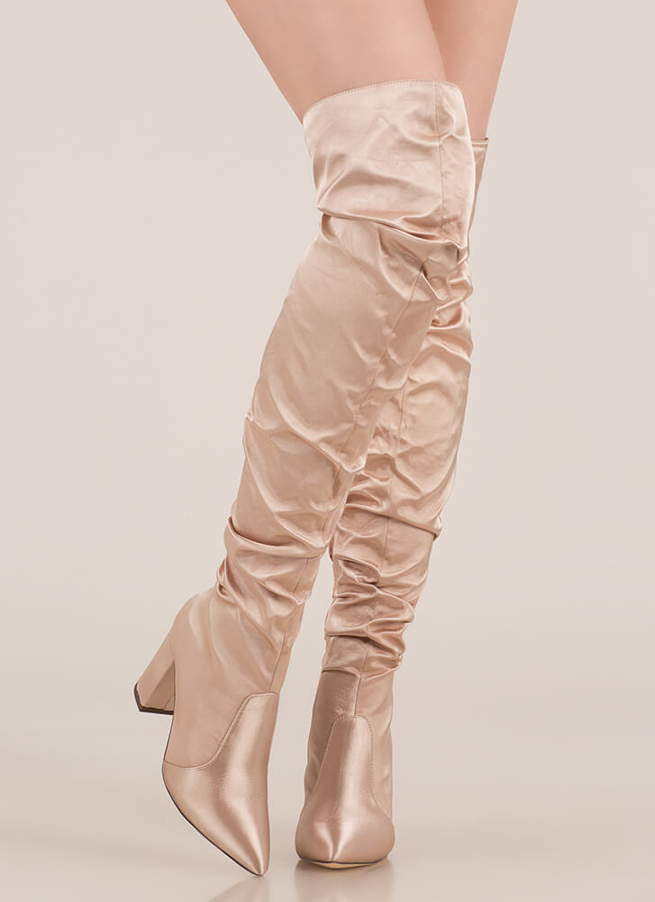 Pad Your Stats Slouchy Thigh-High Boots NUDE