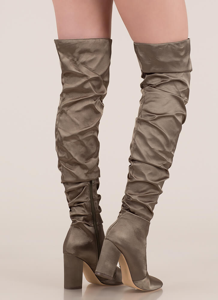 Pad Your Stats Slouchy Thigh-High Boots OLIVE