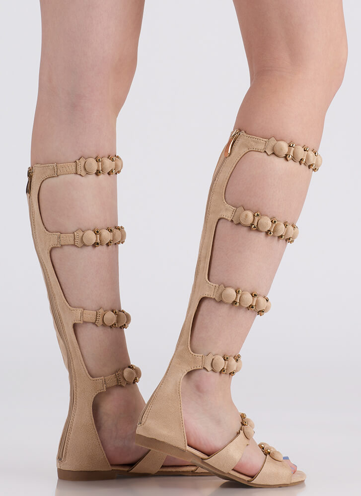 My Bubble Faux Suede Gladiator Sandals NUDE (You Saved $21)