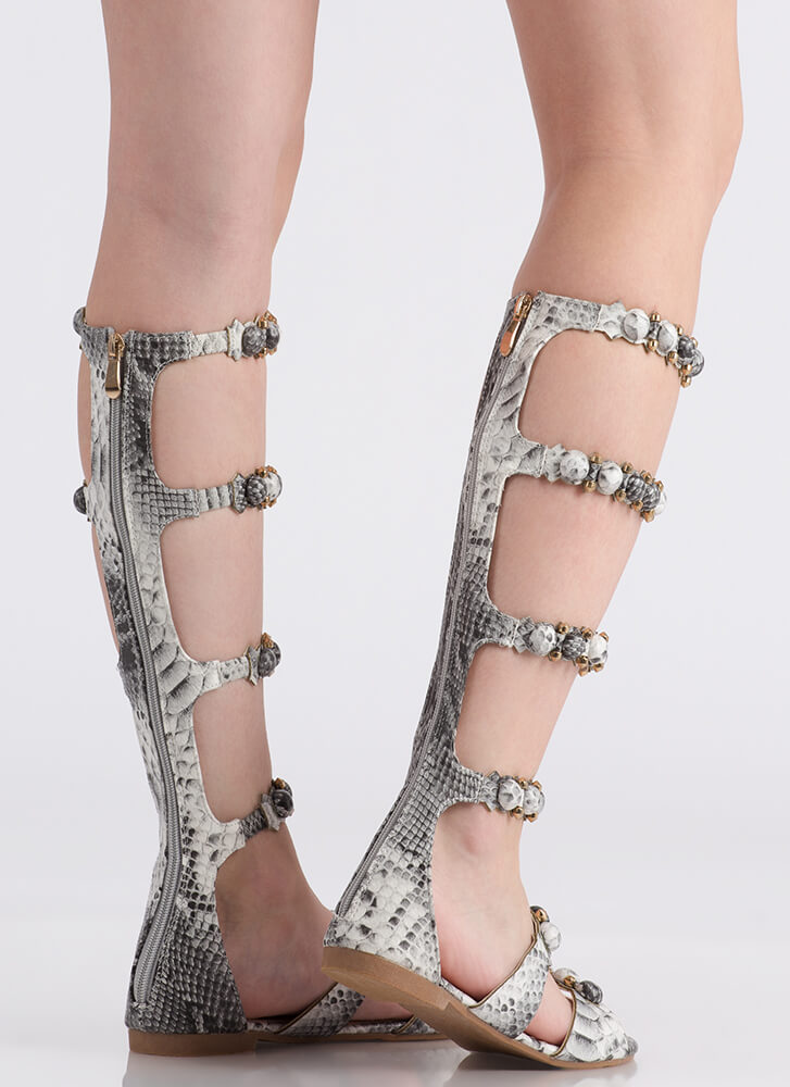 My Bubble Faux Snake Gladiator Sandals SNAKE