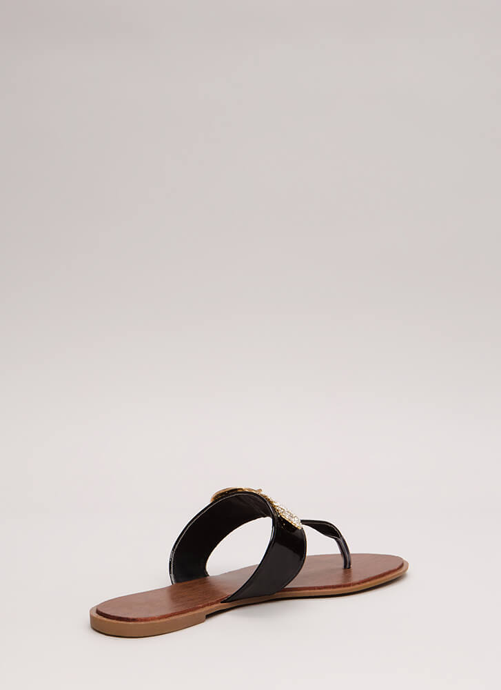 Jewel Thief Faux Patent Thong Sandals BLACK