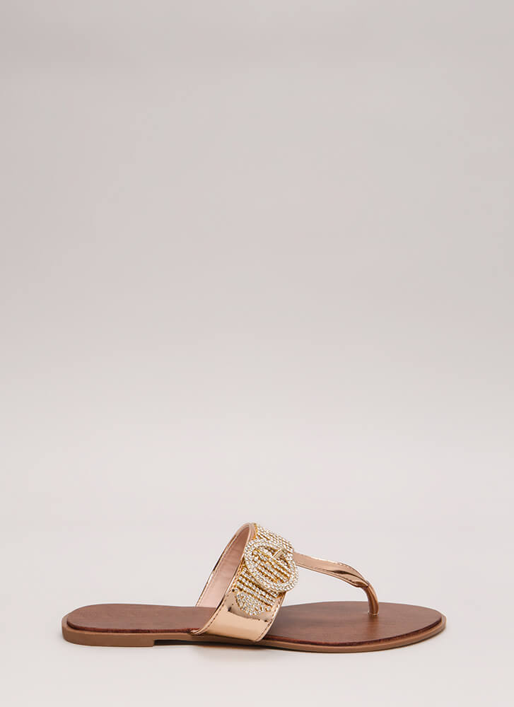 Jewel Thief Metallic Thong Sandals ROSEGOLD