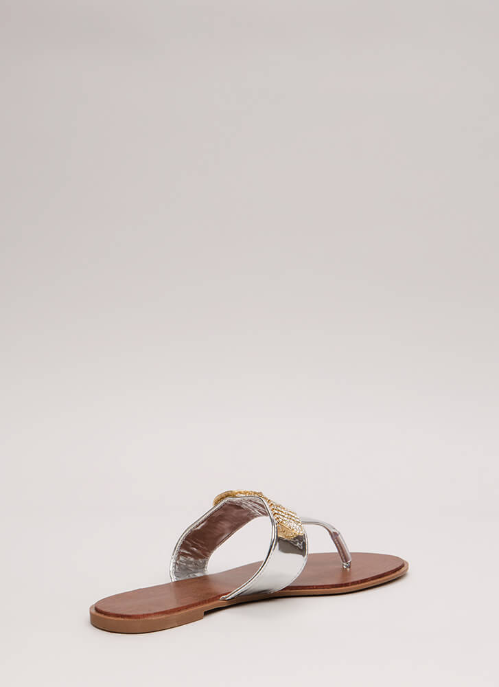 Jewel Thief Metallic Thong Sandals SILVER