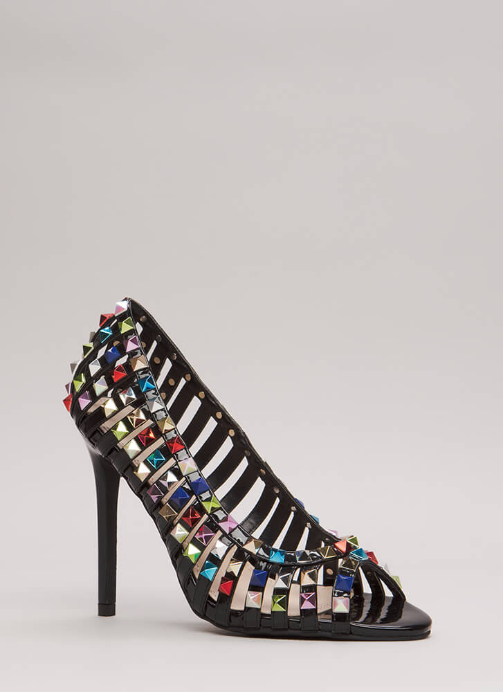 Star Studded Strappy Faux Patent Heels BLACK (Final Sale)