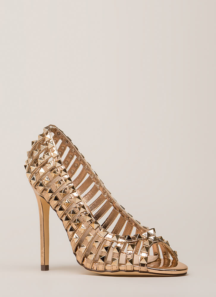 Star Studded Strappy Metallic Heels ROSEGOLD