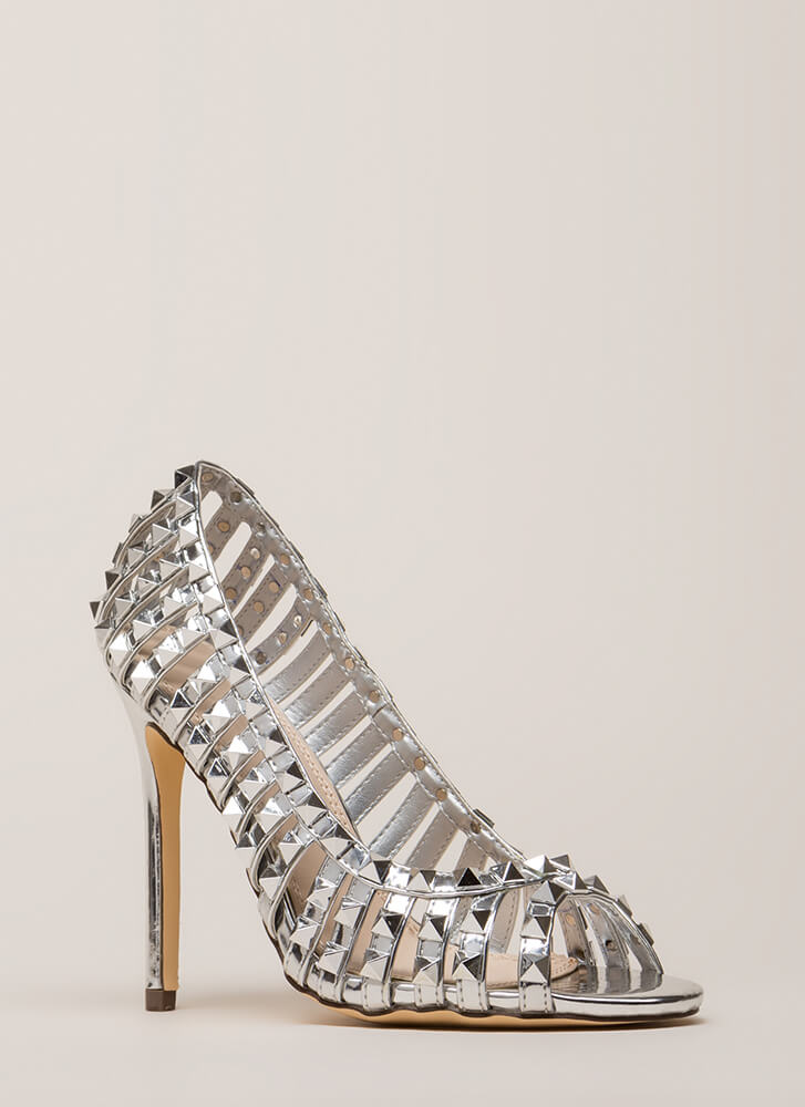 Star Studded Strappy Metallic Heels SILVER