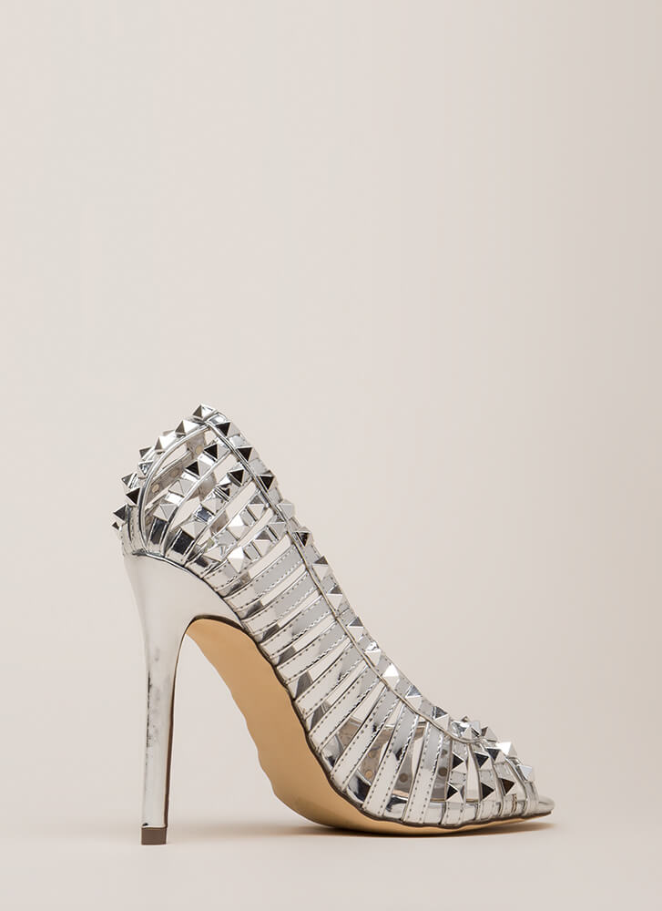 Star Studded Strappy Metallic Heels SILVER (You Saved $30)