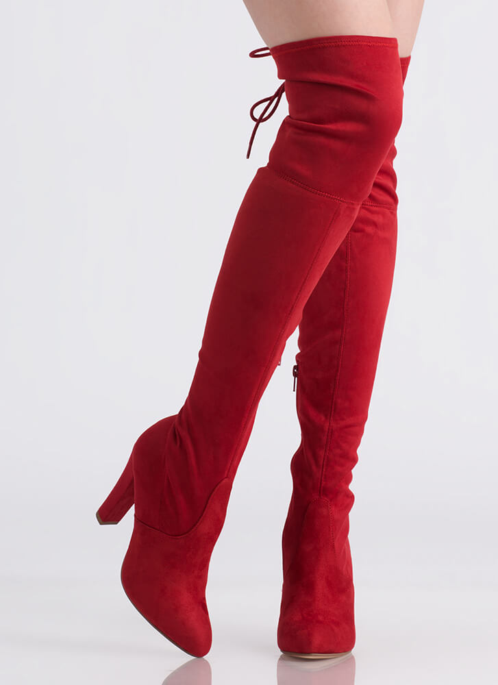 Tall Tale Lace-Back Thigh-High Boots LIPSTICK