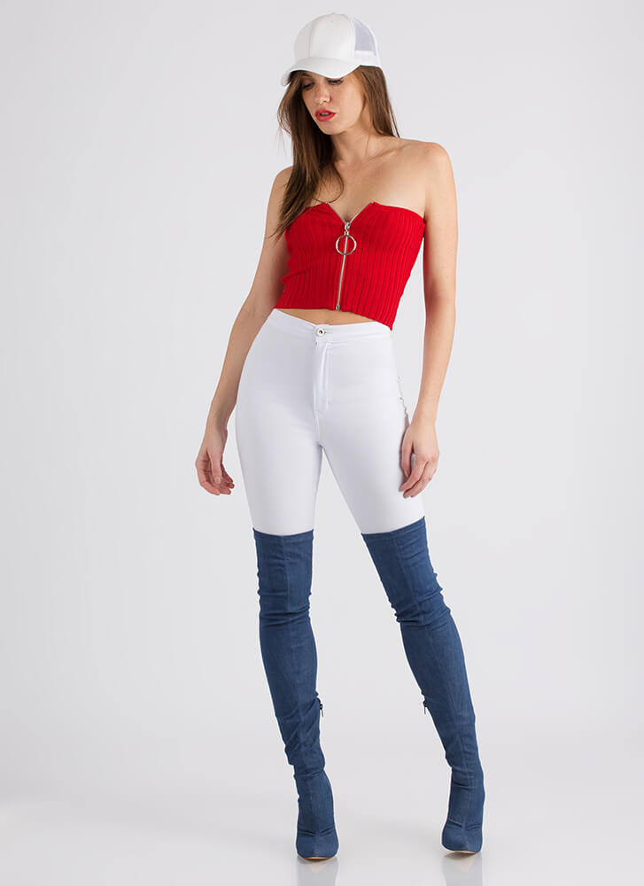 Ring Ring Ribbed Zip-Front Tube Top RED