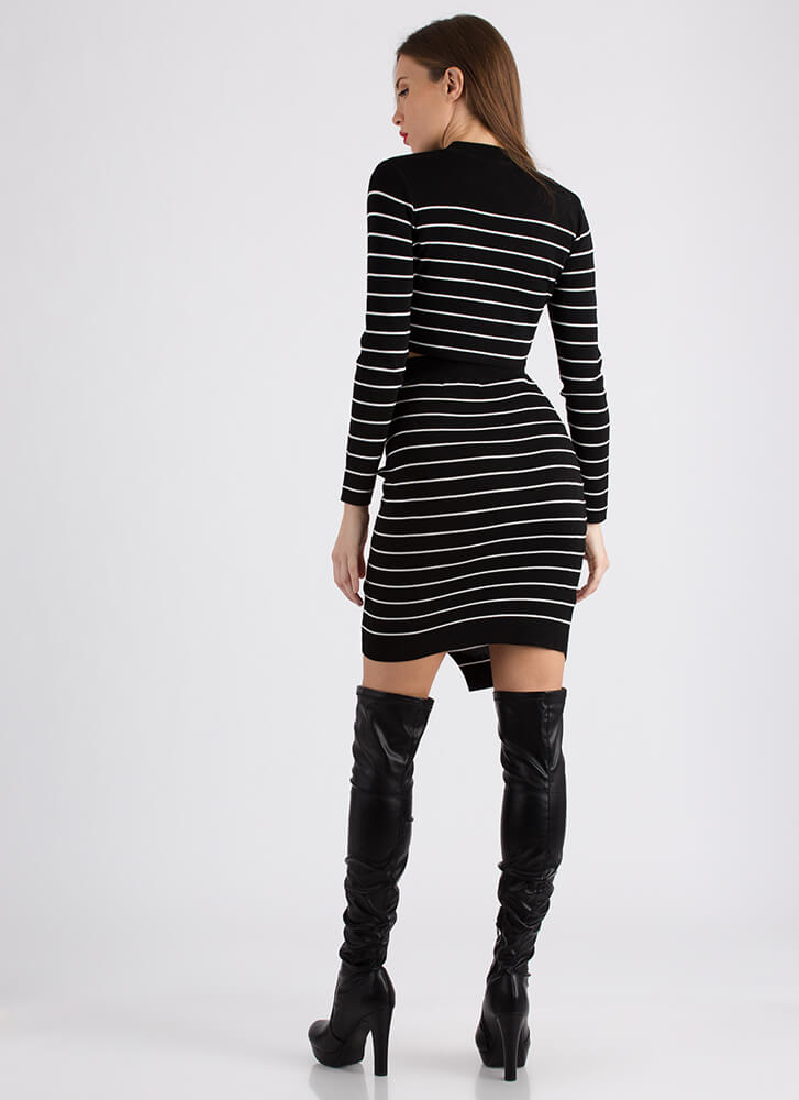 Fine Lines Pinstriped Top And Skirt Set BLACK