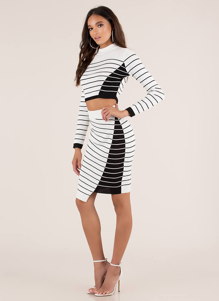 Fine Lines Pinstriped Top And Skirt Set IVORY