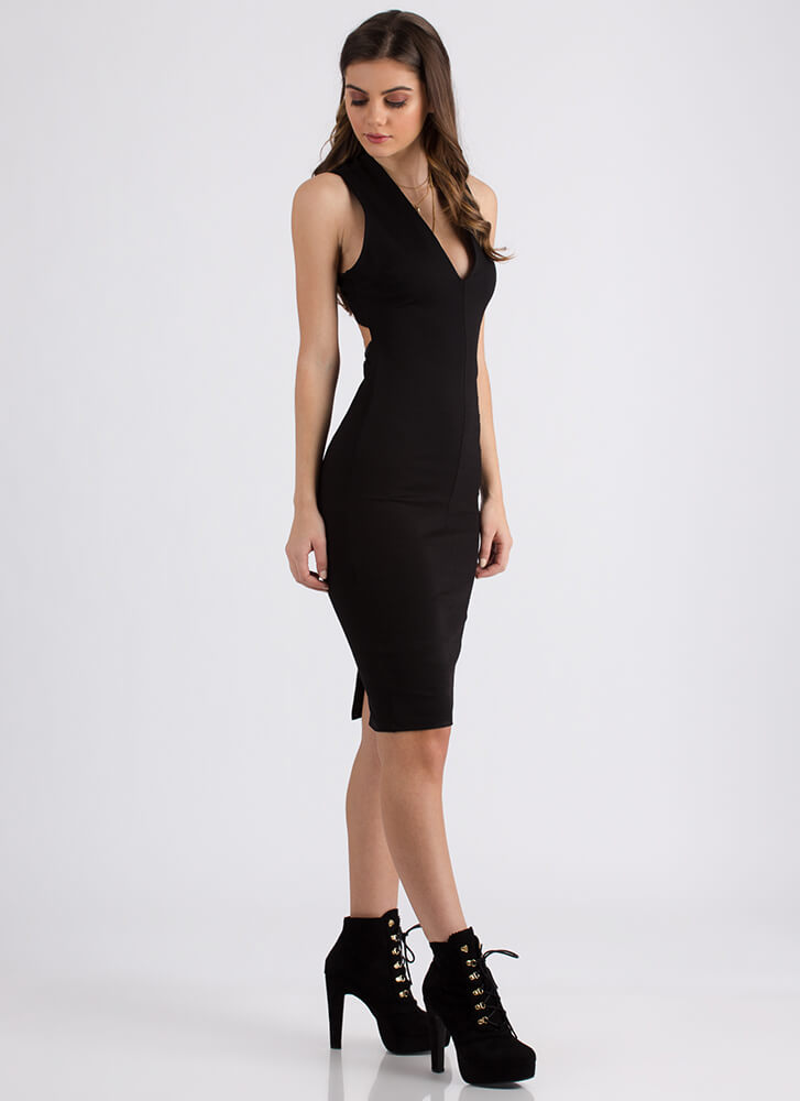 Shout-Out To My X Plunging Midi Dress BLACK