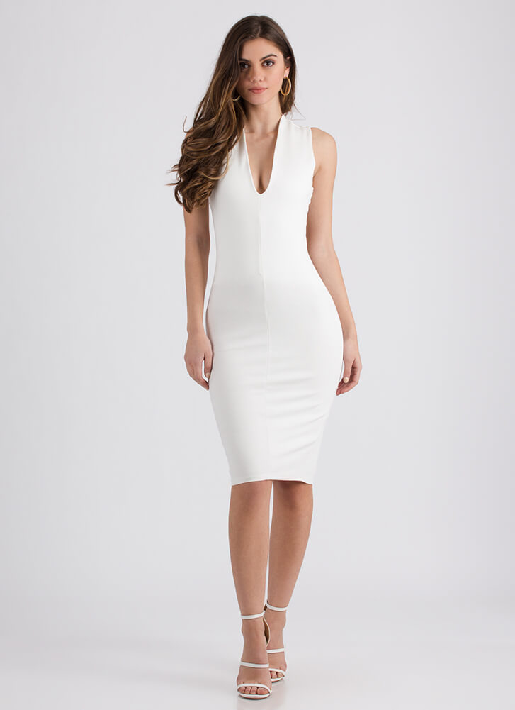 Shout-Out To My X Plunging Midi Dress IVORY