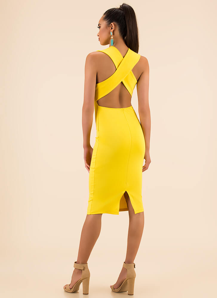 Shout-Out To My X Plunging Midi Dress YELLOW