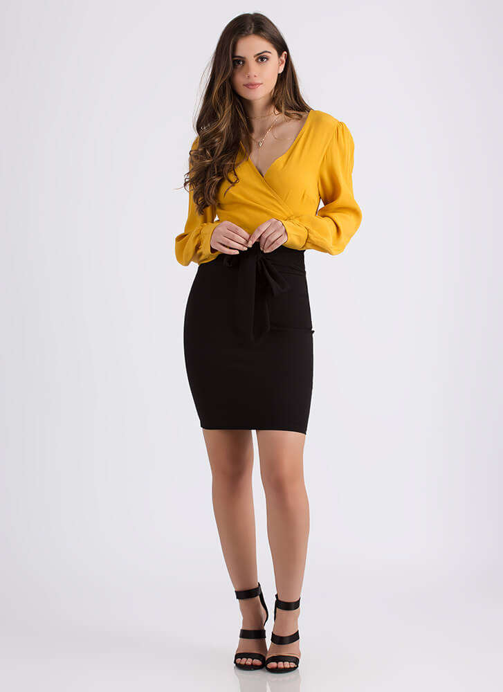We Present To You Tied Bow-Front Skirt BLACK