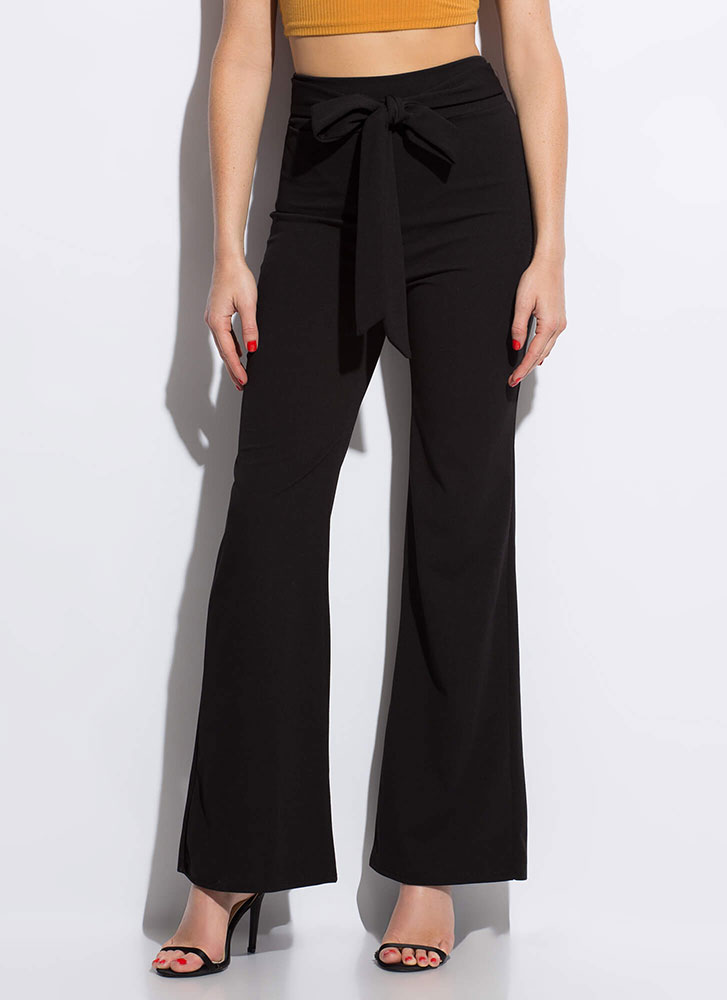 Gift Yourself Tied High-Waisted Pants BLACK