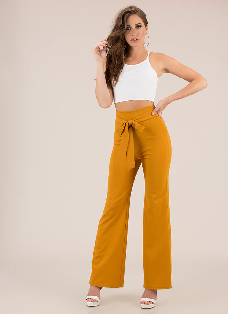 Gift Yourself Tied High-Waisted Pants MUSTARD