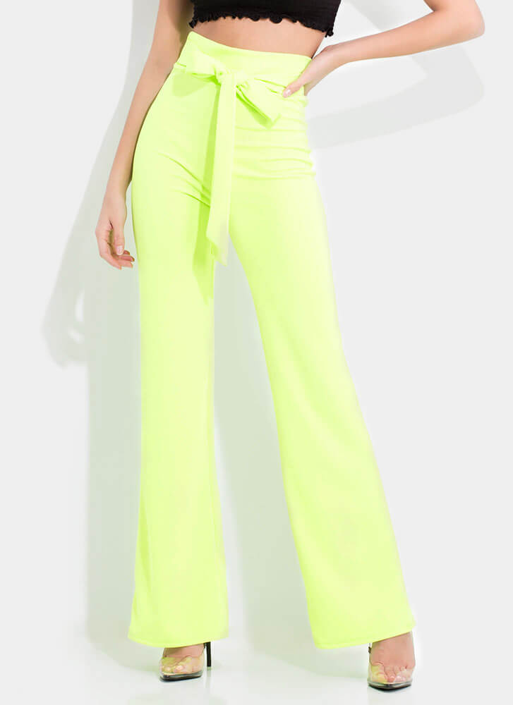 Gift Yourself Tied High-Waisted Pants NEONGREEN (You Saved $20)