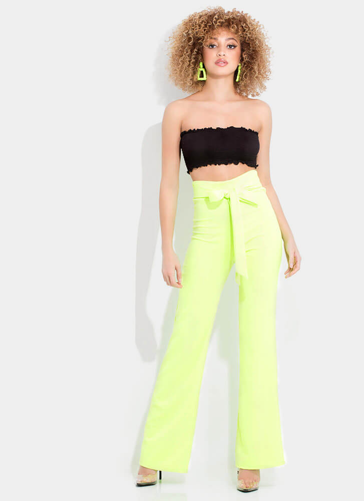 Gift Yourself Tied High-Waisted Pants NEONGREEN (Final Sale)