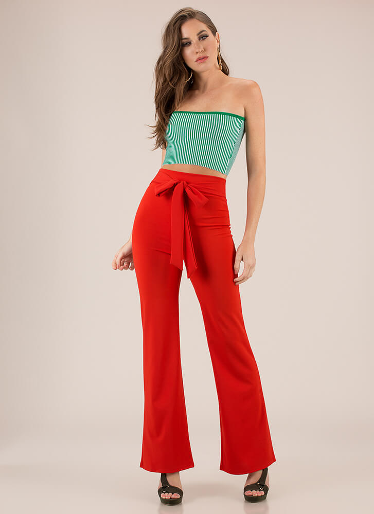 Gift Yourself Tied High-Waisted Pants RED