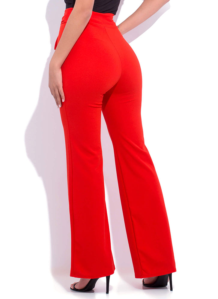 Gift Yourself Tied High-Waisted Pants TANGERINE (You Saved $20)
