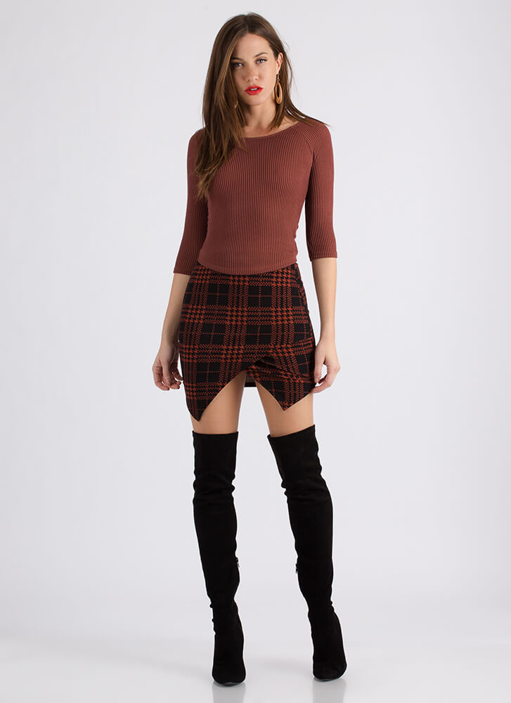 Plaid Props Handkerchief Hem Skirt RUST