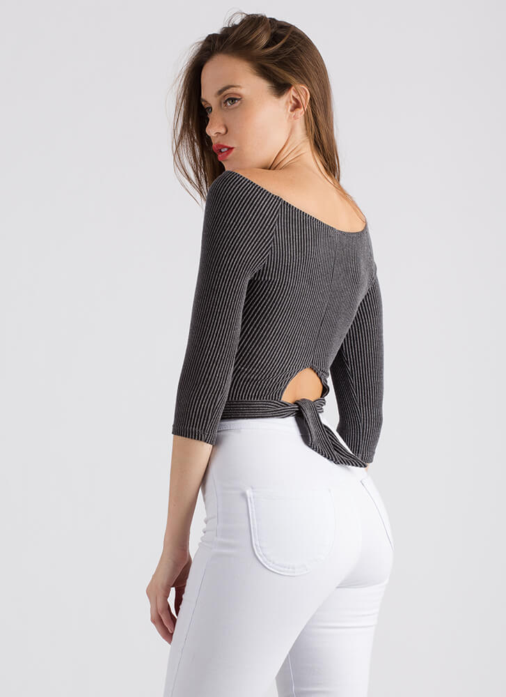 Back Story Ribbed Cut-Out Crop Top CHARCOAL