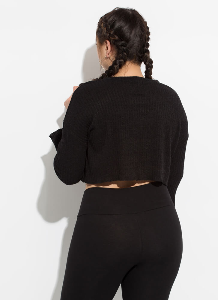 Zip Thru It Cropped Rib Knit Sweater BLACK
