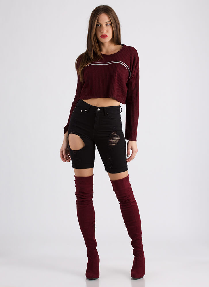 Zip Thru It Cropped Rib Knit Sweater BURGUNDY