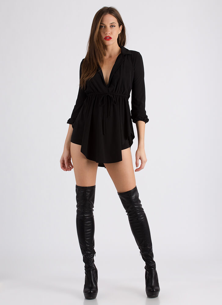 Eclectic Style Tunic And Short Set BLACK