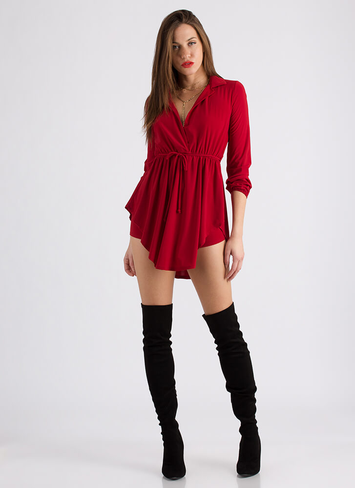 Eclectic Style Tunic And Short Set RED