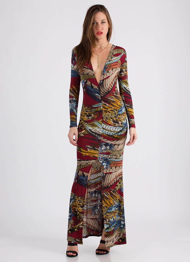 Bird's The Word Feather Print Maxi BURGUNDY (Final Sale)