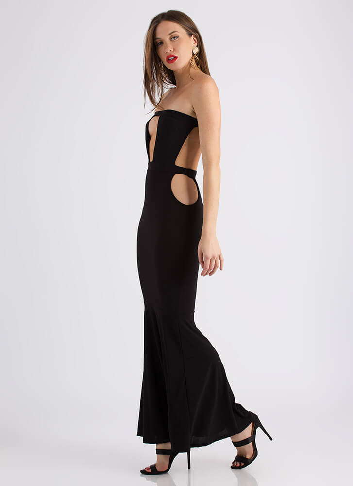 My Night Strapless Cut-Out Maxi Gown BLACK