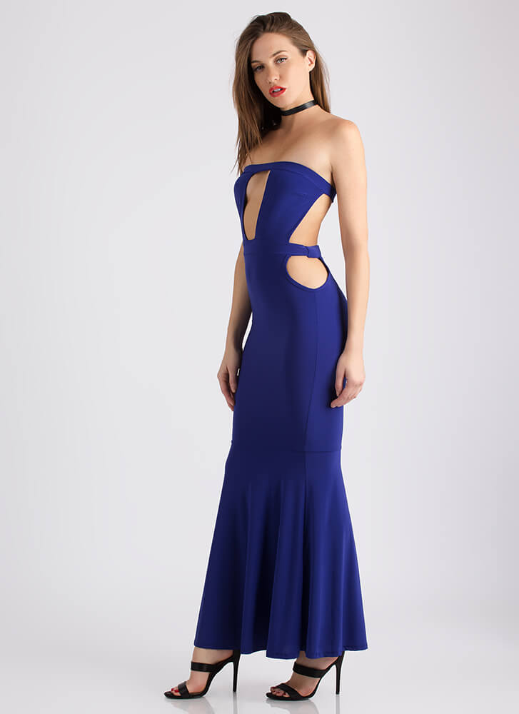My Night Strapless Cut-Out Maxi Gown ROYAL
