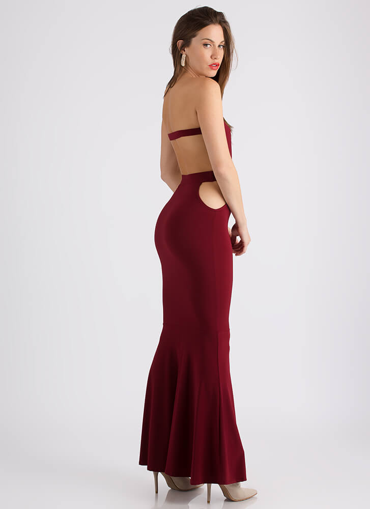 My Night Strapless Cut-Out Maxi Gown WINE