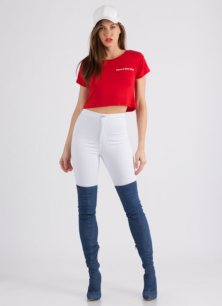 Have A Nice Day Graphic Crop Top RED