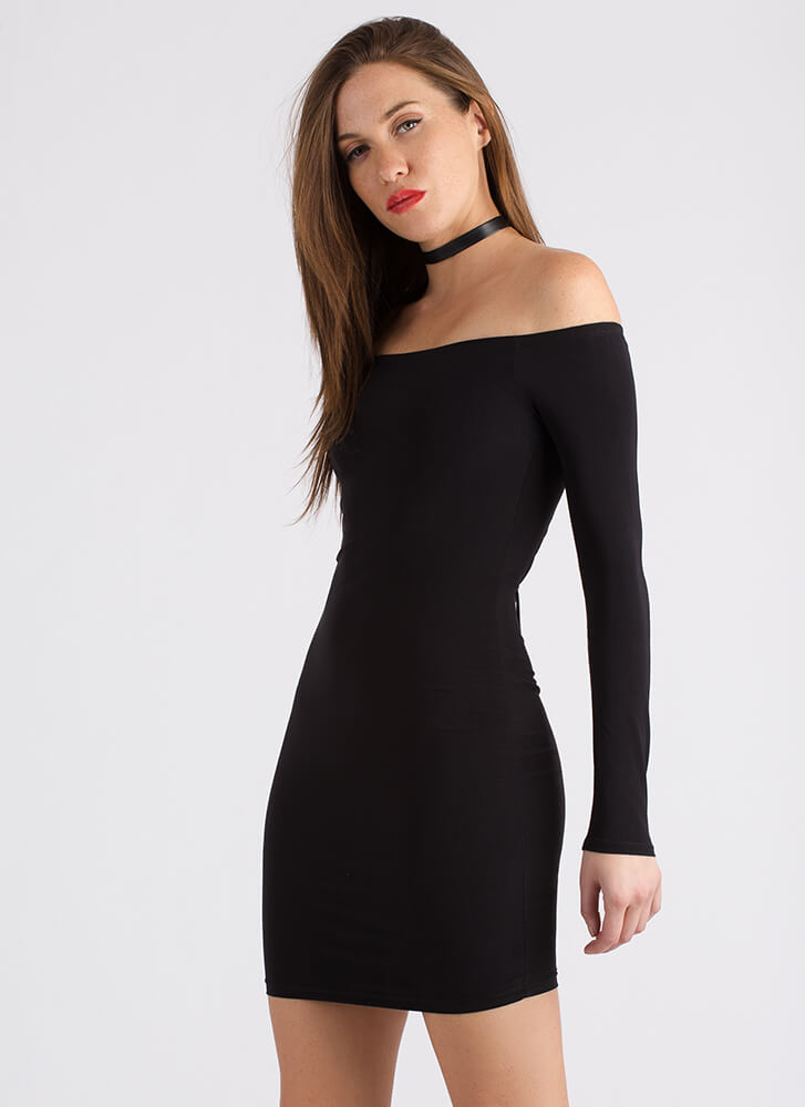 Surprise Off-Shoulder Lace-Back Dress BLACK