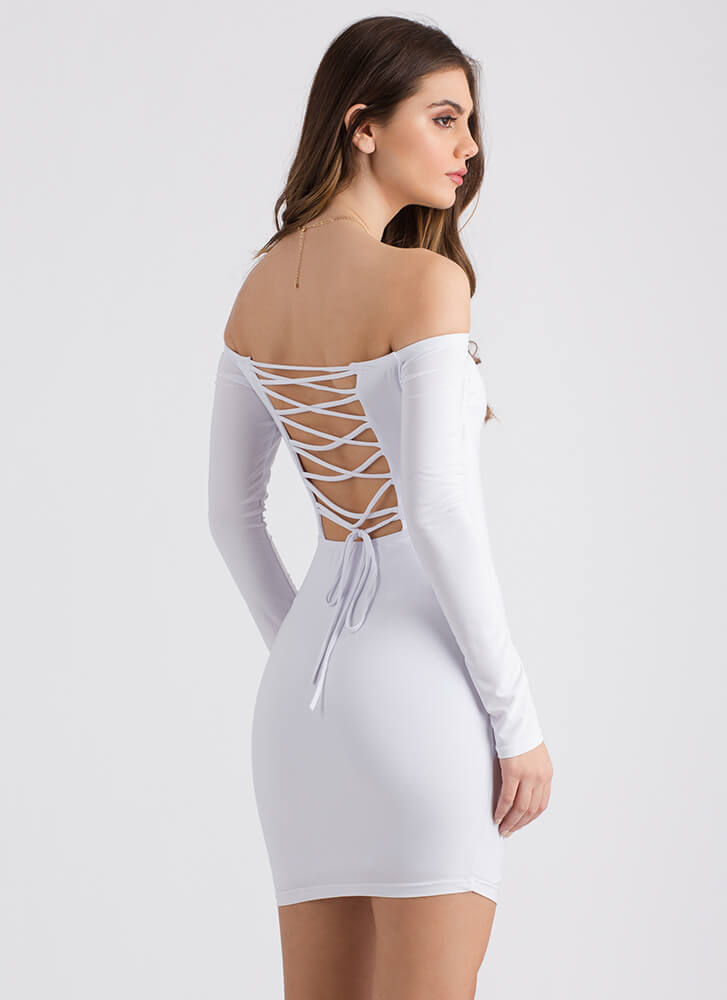 Surprise Off-Shoulder Lace-Back Dress WHITE