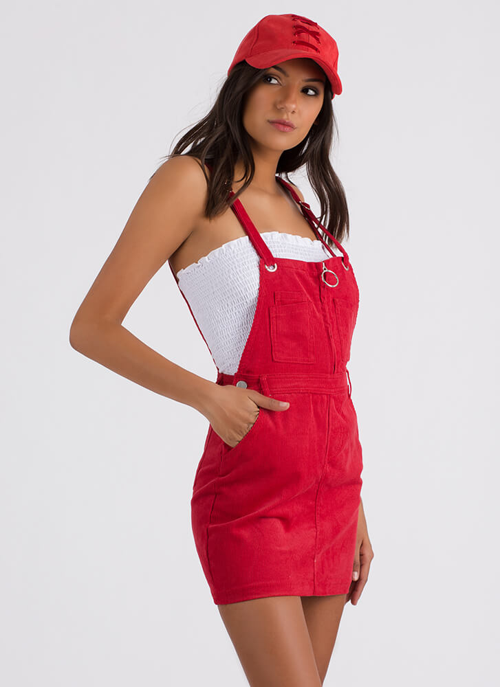 Play Date Corduroy Overall Dress RED
