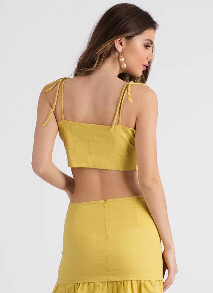 Island Vacay Knotted Sleeveless Crop Top YELLOW (Final Sale)